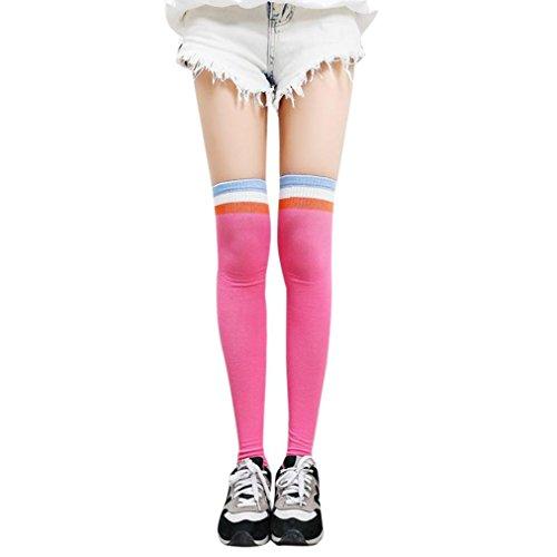 BZLine® Frauen Winter Overknee Überknie Kniestrümpfe Sportsocken (Hot Pink) (Overknees Pink Hot)