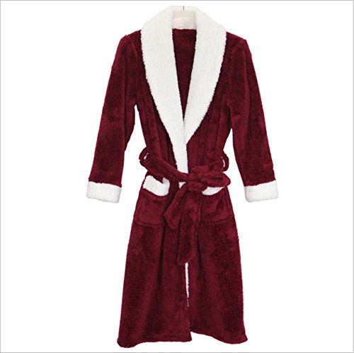 DMMSS Damen Coral Velvet Nightgown Robes Pyjamas Herbst und Winter . section of red wine . m