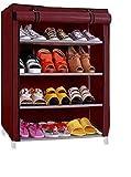#8: YUTIRITI 4 Layer Maroon Shoe Rack with Cover Space Saver Storage Organiser - Maroon