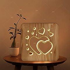 Idea Regalo - Luce Notturna A Forma Di Cuore Vuoto 3D Love, Lampada Da Tavolo A Led In Legno Bianco, Lampade Da Comodino Per Camera Da Letto, Regalo Di Compleanno Per Bambini