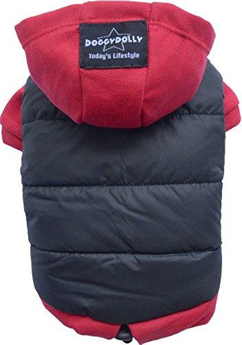Doggy Dolly W110 Hundejacke Wasserabweisend mit Kapuze, schwarz/rot, Wintermantel / Winterjacke, Größe : S