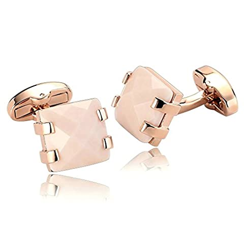 AnaZoz Fashion Jewelry Stainless Steel Mens 1 Pair Cufflinks Rectangle Four Claw with Cubic Zirconia Rose Gold Men's Cuff