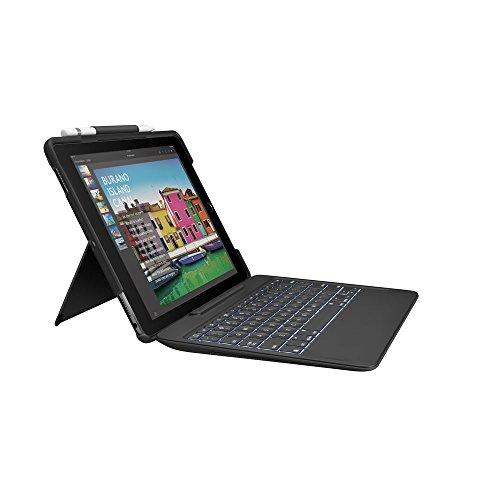Logitech 920-008442 iPadPro 10,5Zoll Tastatur-Case (SlimCombo mit abnehmbarer, beleuchteter kabelloser Tastatur und SmartConnector, QWERTZ Deutsches Tastatur-Layout) schwarz