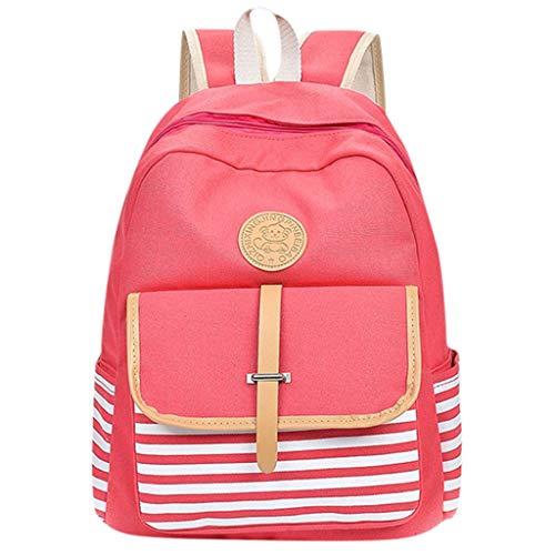 FBGood Schulstudenten Streifen Leinwand Rucksack, Mode Damen Herren Paar Taschen Großer Kapazität Reisetasche Schultaschen Handtasche Freizeit Umhängetasche Schulranzen