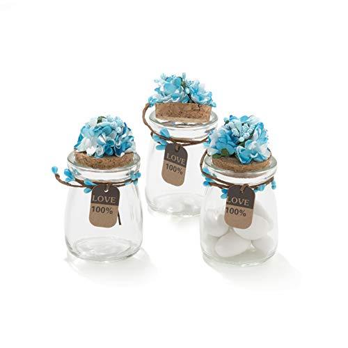 20 pezzi barattolo vetro con tappo in sughero porta confetti bomboniera incluso decorazione fatto a mano fiore pistilli etichetta tema naturale (blu)