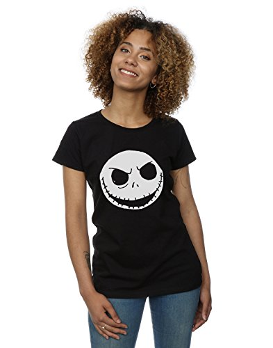 Disney Damen Nightmare Before Christmas Jack Skellington Face T-Shirt Small Schwarz