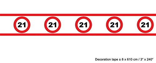 Verkehr Kostüm - Absperrband Verkehrs Schild 21 Geburtstag 8cm hoch 610 cm lang rot weiß