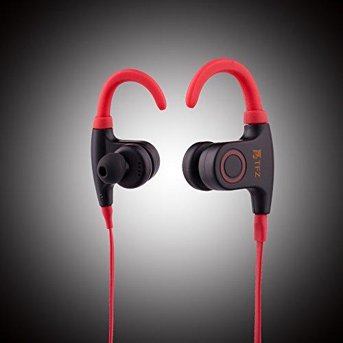 Tfz bluetooth cuffie v 4.1 wireless impermeabile ipx5 rumore riduzione bluetooth auricolari per sport esecuzione sicuro ear hook design con clip per cavi (nero) ¡