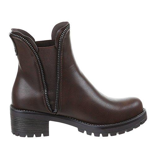 7a35d1e03e49 ... Damen Schuhe Stiefeletten Warm Gefütterte Boots Schwarz Braun Camel 36 38  38 39 40 41 Dunkelbraun ...
