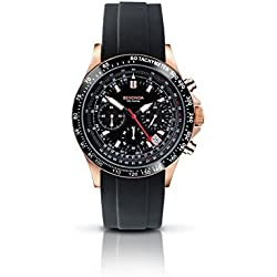 Sekonda Men's Quartz Watch with Black Dial Chronograph Display and Black Silicone Strap 3101.27