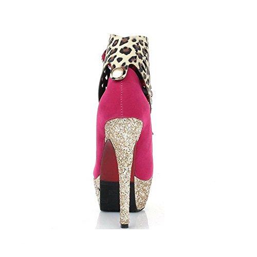 Odomolor Femme Fermeture D'Orteil Rond Stylet Dépolissement Couleurs Mélangées Lacet Chaussures Légeres Cramoisi