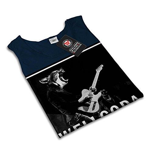 Musik Gitarre Katze Wellcoda Rock 'n' Roll Damen S-2XL Muskelshirt | Wellcoda Marine