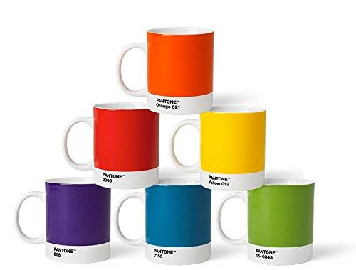 Pantone Porzellan Becher 6er-Set, 6 Kaffeetassen à 375 ml, coffee, mit Henkel, spülmaschinenfest, klassische Farben Pantone Universe