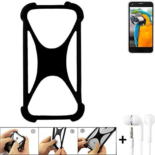 K-S-Trade Handyhülle Vestel V3 5040 Bumper Schutzhülle Silikon Schutz Hülle Cover Case Silikoncase Silikonbumper TPU Softcase Smartphone, schwarz (1x), Headphones