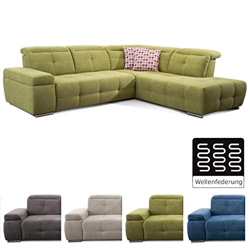 CAVADORE Ecksofa Mistrel mit Ottomanen rechts / Große Eck-Couch im modernen Design / Inkl. verstellbare Kopfteile / 269 x 77 x 228 / Grün