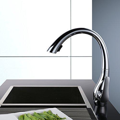 Homelody 360° drehbar Wasserhahn mit Ausziehbar Brause Armatur Küche Mischbatterie KüchenarmaturSpültischarmatur Spültischbatterie Küchenmischer - 4