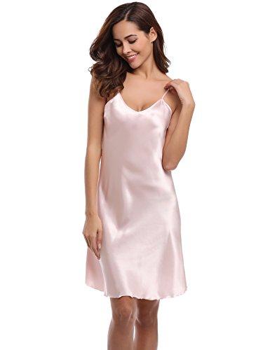 Aibrou Damen Sexy Negligee Nachthemd Satin Nachtkleid Nachtwäsche Unterwäsche Sleepwear Kurz Trägerkleid V Ausschnitt Rosa XXXL