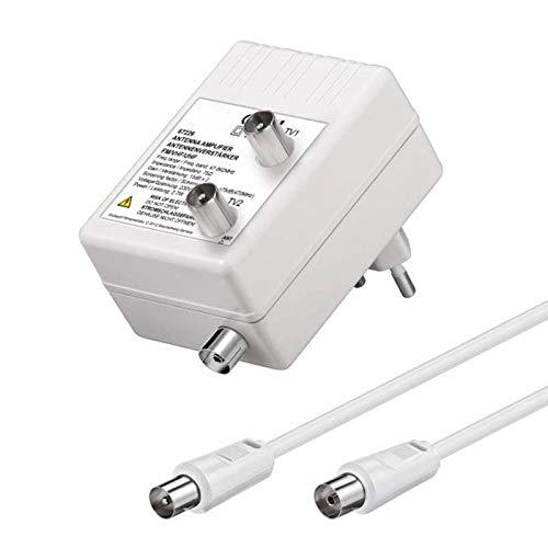 AnKa-Digital Antennen Verstärker Zweigeräte-Antennenverstärker 1 In 2 Out für DVB-T2 + Kabel TV + Radio Verteilverstärker 2-Geräte-Verstärker optimale Signalverstärkung von 2× 15dB Full HD 1080p DVB-T DVB-C Radio UHF - VHF - UKW