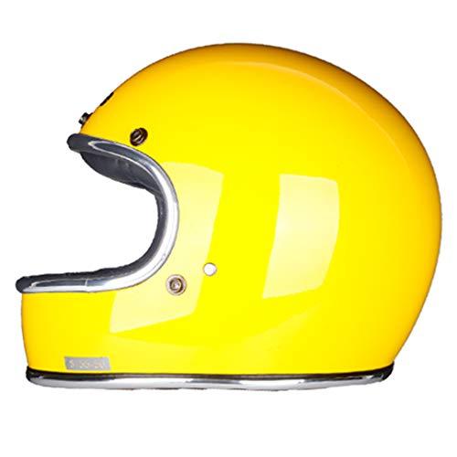 KeRuiLou Casco Moto Full Face in vetroresina Casco Stile retrò Vintage Classico Gloss Yellow L