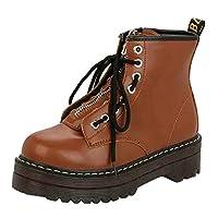 Lazzboy Ankle Boots Womens Ladies Vintage Flat Platform Lace-Up Zip Front Shoes