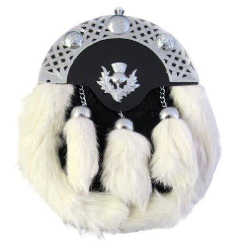 Preisvergleich Produktbild Kiltsporran mit Distelemblem - Kaninchenfell - Schwarz und Weiß