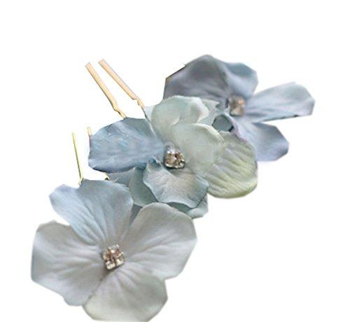 10 PCS élégant en forme de fleur de cheveux Pins / Clips headwears, Bleu