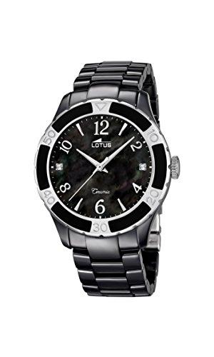 Lotus - Reloj de Cuarzo para Mujer, Correa de cerámica Color Negro