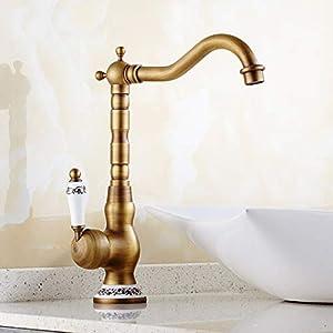 Sccot Grifo de baño, grifo mezclador alto para lavabo y baño de latón antiguo con una sola palanca de agua fría y caliente disponible grifo de lavabo, latón macizo
