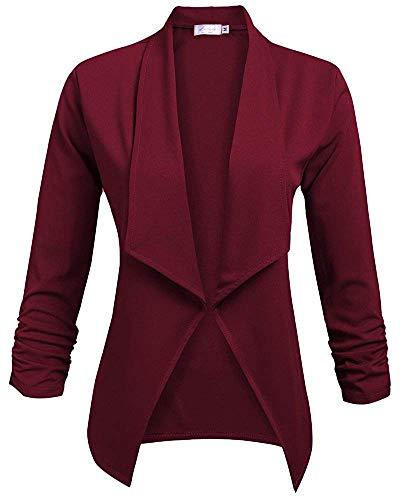 Stoff Blazer (Lalala Damen Blazer Jacke aus Weichem Stoff 2-Weinrot L)
