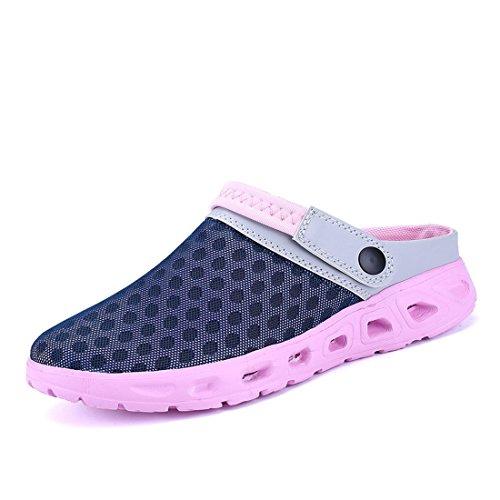 Bild von Yooeen Unisex Hausschuhe Clogs Atmungsaktiv Mesh Pantoletten Slip-On Rutschfest Walking Sandalen Bequem Flache Sommer Schuhe für Herren Damen