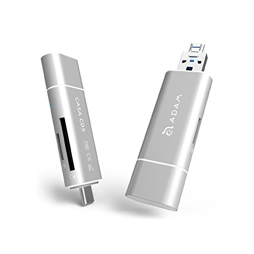 Adam Elements Casa Series - SD / MicroSD Speicherkartenleser, USB 3.1 Type-C / Type-A und USB 2.0 Micro USB für PC, Laptop und Smartphones / Tablets mit OTG   Echte 4K-Video Unterstützung   Silber