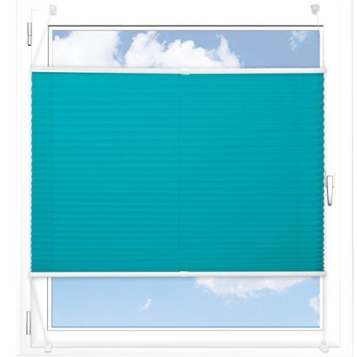 Plissee Rollo / Jalousie | Sichtschutz ohne Bohren, Klemmfix | Faltstore in moderner Crushed Optik | Türkis | Größe wählbar (100 cm Länge x 80 cm Breite)