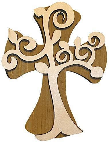 schenkidee - 18 cm Wandkreuz Echtes Holz Kreuz aus Fichte Kruzifix mit Lebensbaum Baum des Lebens für die Wand modern gefertigt im Grödner Tal Südtirol ()