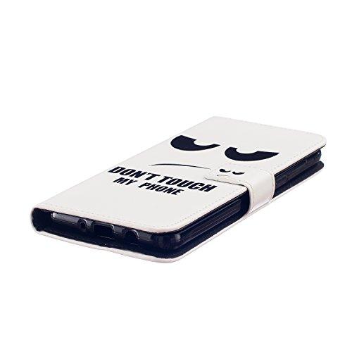 Coque pour Apple iPhone 5C,Housse en cuir pour Apple iPhone 5C,Ecoway Colorful imprimé étui en cuir PU Cuir Flip Magnétique Portefeuille Etui Housse de Protection Coque Étui Case Cover avec Stand Supp Augen,DON'T TOUCH MY PHONE