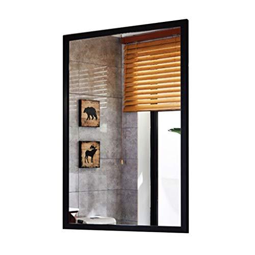 Wand abgeschrägter Spiegel gerahmt - Dekorativer Wandspiegel- Großer Holzrahmenspiegel - Badezimmerspiegel - Schlafzimmer rechteckiger Rahmen  Hängt horizontal und vertikal - schwarz (Wand Spiegel Große Gerahmte)