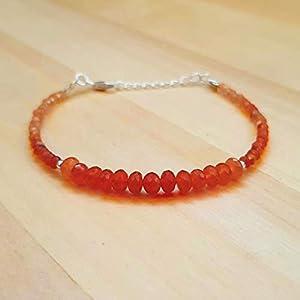 Orange Karneol Perlen Armbänder Sterling Silber Geburtstagsgeschenk Schmuck ihr tägliches Armband