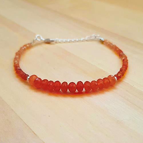Orange Karneol Perlen Armbänder Sterling Silber Geburtstagsgeschenk Schmuck ihr tägliches - Kostüm Armbänder Schmuck