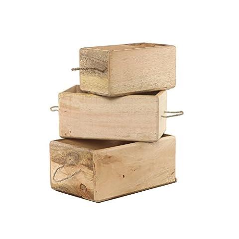 Bois massif, Caisse de rangement, Poubelle, Box, Cube. Utilisation comme Organiser ou chaises Décor. 4tailles Grande, moyenne, petite, très petite, Bois dense, marron, 3 PC COMBO