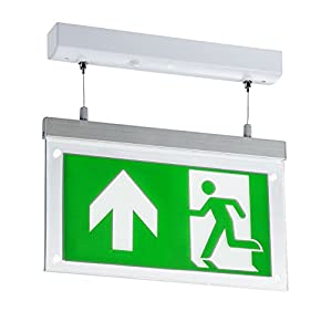 Knightsbridge Led Suspended Double-Sided Emergency Exit Sign, Polycarbonate, 2 W, Green