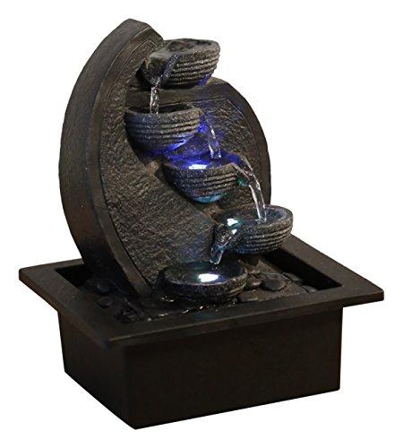 Zen'light, cascata-v2 fontana poliresina, colore: grigio/nero 17x 21x 26cm