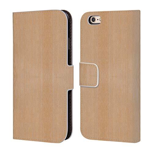 Head Case Designs Offizielle PLdesign Helles Braunes Korn Holz Und Rost Drucke Leder Brieftaschen Huelle kompatibel mit iPhone 6 / iPhone 6s (Holz-korn Aus Iphone 6 Case)