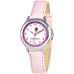 Red-Bubble W002070 Girls' Watch Quartz educational with Pink Leather Strap and White Dial