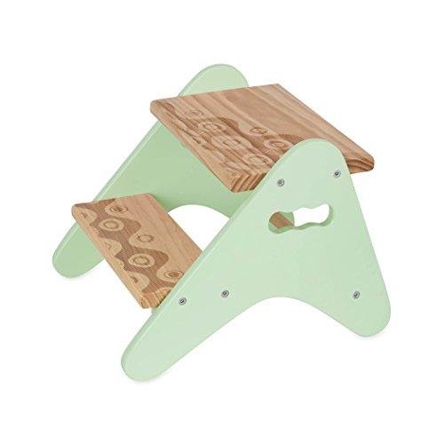 B. Spaces Peek-a-Boost Hocker aus Holz mit Zwei Stufen, Mint & Holz