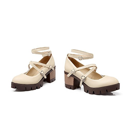 AgooLar Femme Rond à Talon Correct Couleur Unie Boucle Chaussures Légeres Beige