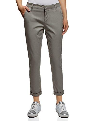 oodji Ultra Mujer Pantalones Chinos de Algodón, Gris, ES 42 / L