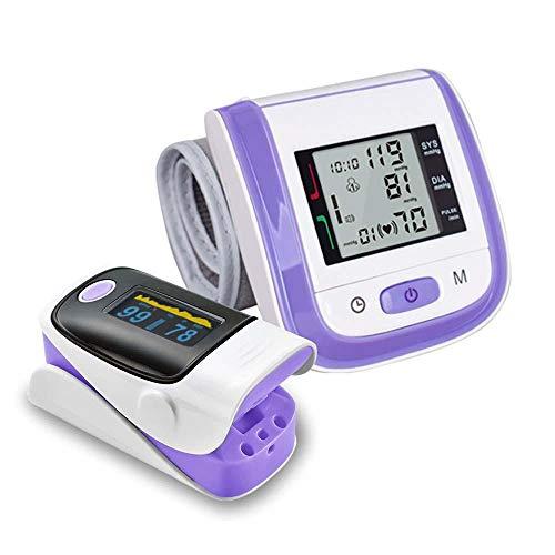 HJUNH oximeter, Finger Pulsoximeter Blood Oxygen Saturation Monitor Finger Blutdruckmesserset Handgelenk elektronischer Clip Pulsmesser, lila Englisch
