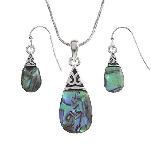 Kiara Schmuck Pear Drop Box Anhänger Halskette und Ohrring Set mit natürlichen Blaue grün intarsiert Paua Abalone Shell auf 45,7cm Schlangenkette. Hypoallergen, rhodiniert.