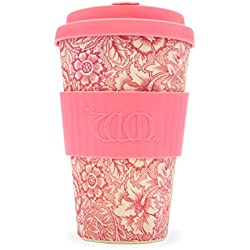 ecoffee CUP William Morris Amapola 14 ONZAS / 400ml Rosa Estampado Floral reutilizable Bambú Taza de café
