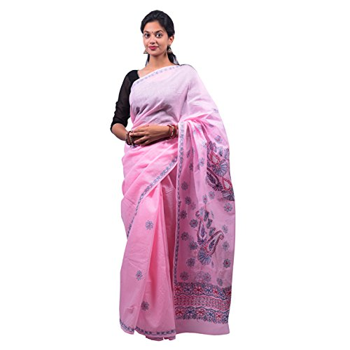 Bds Chikan Cotton Saree (Bds00441_Baby Pink)