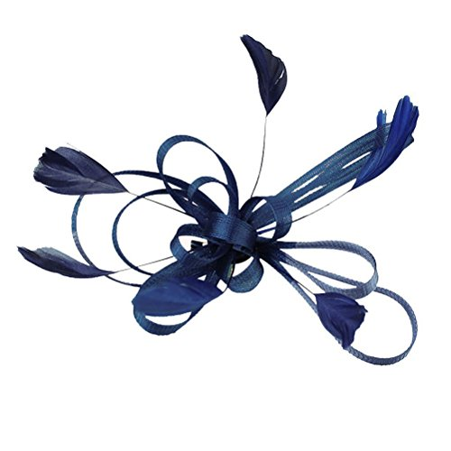 FENICAL Feather Hair Clips Wedding Bridal Feather Fascinator Hair Clip Hair Accessory (Navy Blue)